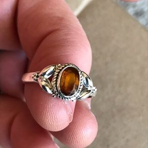 925 Silver & Orange Kyanite Ring Size 8